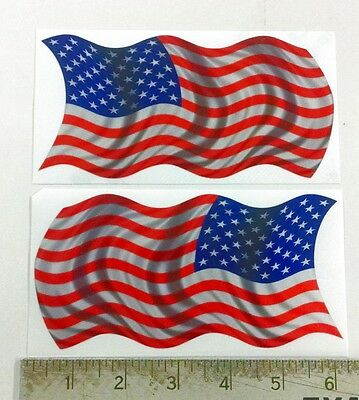 """Reflective Pair of USA Waving Flags sticker decal 6""""x3"""""""