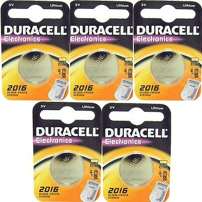 5 x DL2016 DURACELL Lithium coin Batteries 3v 2016 CR2016 ECR2016