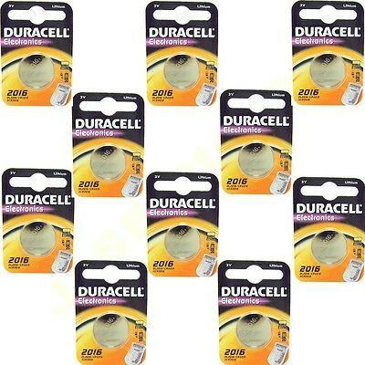 10 DL2016 DURACELL Lithium coin Batteries CR2016 2016 ECR2016