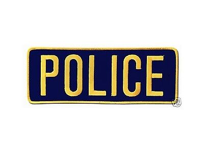 Large Police Back Patch Badge Emblem 11X4 Gold / Navy