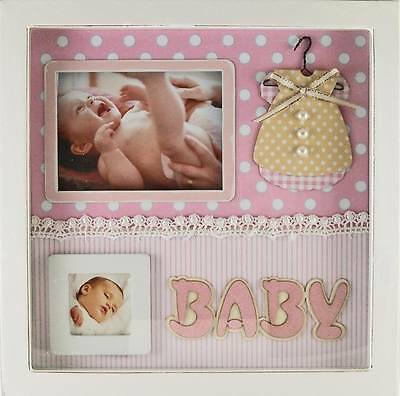 Pink Baby Girl Photo Frame Shadow Box Nursery Decor Home Decor Baby Gift - NEW
