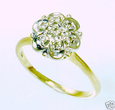 Antique Victorian  White Yellow 14k Gold Diamond Engagement Ring Vintage Old 7.5