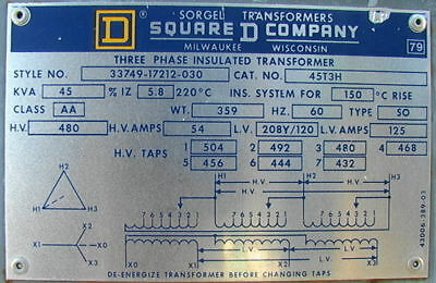 Square D 45 KVA 3-Phase Transformer 480-208/120 Delta to Wye