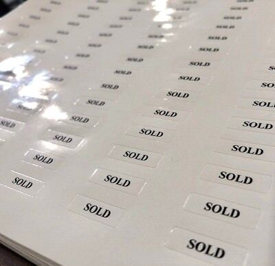 'SOLD' Tickets / Stickers / Labels Jewellery Displays -Self-Adhesive *UK Seller*