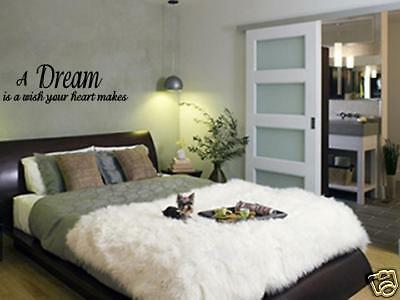 A DREAM IS A WISH wall quotes bedroom removable vinyl wall ...