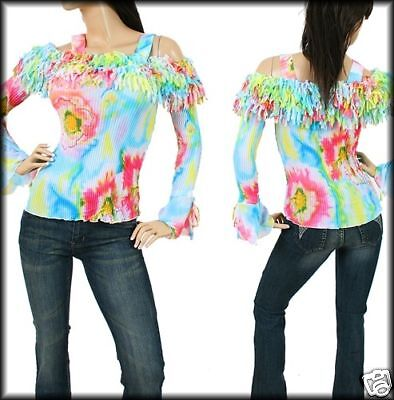 R36 Lady's Pretty Blue/Floral Long Sleeve Top M (6/8)