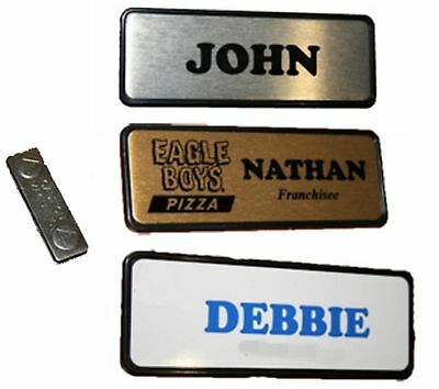 Personalised NAME BADGE MAGNETIC 7.6x2.5cm Name tag WORK BADGES custom name logo