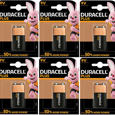 6 x Duracell Plus 9V Batteries MN1604 PP3    DATED 2024