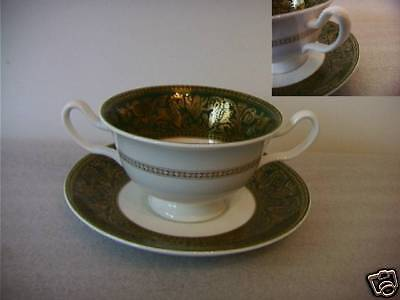 Wedgwood Florentine - Green (W4170) Handled Soup Bowl / Stand