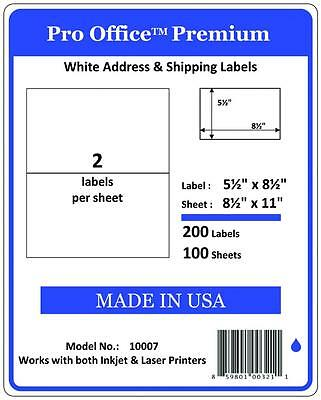 PO07 1000 Premium Half Sheet Shipping Labels Self-Adhesive 8.5 X 5.5 PRO OFFICE