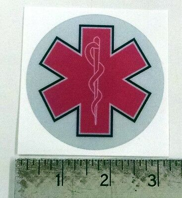 Reflective Star of Life pink sticker decal  3""