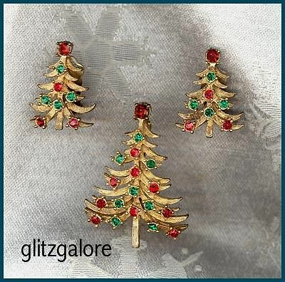 Vintage Christmas Tree Pin and Earrings
