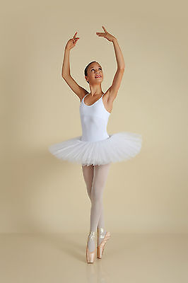 Classical White Kids Petite Pleated Ballet Tutu Recital Competition Costume