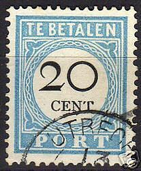 Netherlands 1888 NVPH Due 10fbA CANC VF