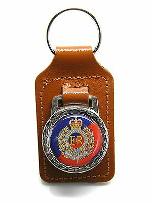 The Royal Engineers Army Badge Military Detail Leather Keyring Key Fob Gift