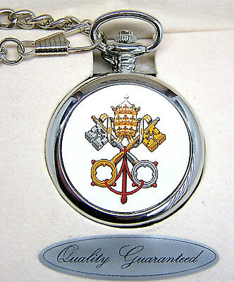 Papal Vatican Pope Pocket Watch Chain And Free Keyring Boxed Faith Gift