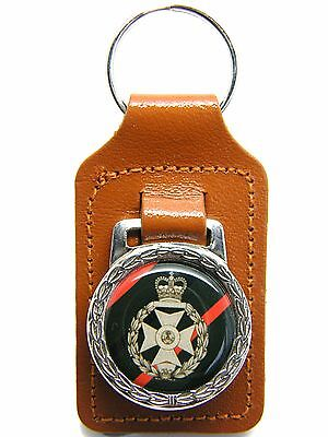 The Royal Green Jackets Army Badge Military Detail Leather Keyring Key Fob