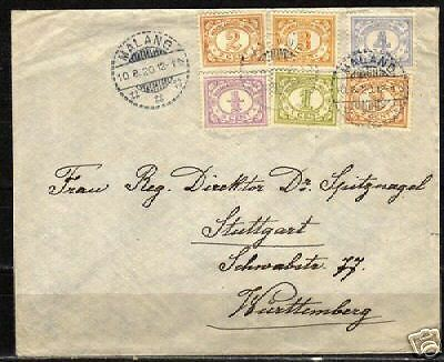 Neth.Indies 1920 franked cover MALANG to Stuttgart  VF