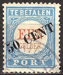 Netherlands 1906 NVPH Due 28 CANC VF
