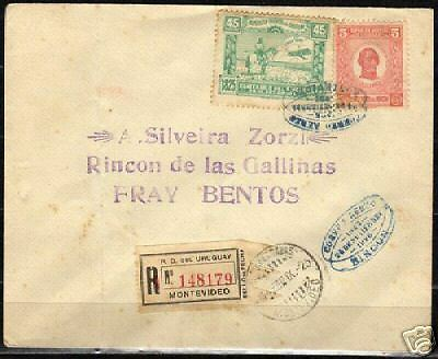 Uruguay 1925 mixed franked R-airmail cover Fine