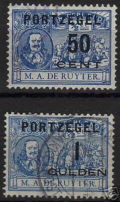 Netherlands 1907  NVPH Due 42-43  CANC  VF