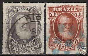 Brazil 1878 YV 45 and 46 CANC VF