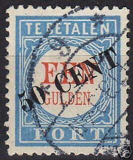 Netherlands 1906 NVPH Due 28 TI plate error4  CANC  VF