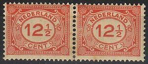 Netherlands 1921 NVPH 108+108a in pair  MLH  F/VF