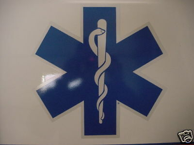 "32"" Star of Life -Ambulance Decal -Blue w/ White border"