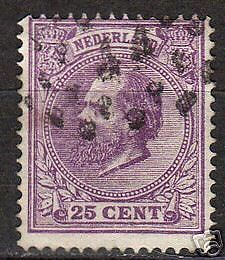 Netherlands 1872 NVPH 26F P.14 big holes CANC