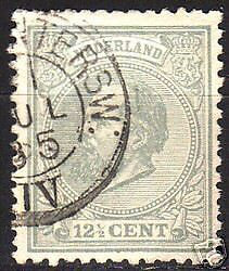 Netherlands 1872 NVPH 22K P.12 1/2 small holes  CANC VF
