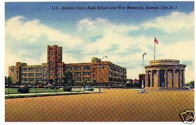 Atlantic City High School linen post card unused 1940's