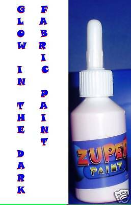 WHITE Glow In The Dark Fabric T-shirt  Zuper Paint