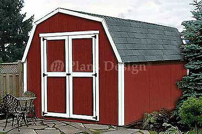 12' x 8' Barn / Gambrel Style Storage Shed Plans, Material List Included  #31208