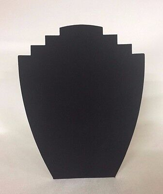 Set of 5 Jewellery Display Card Busts [B] Black Suede *Made in the UK*