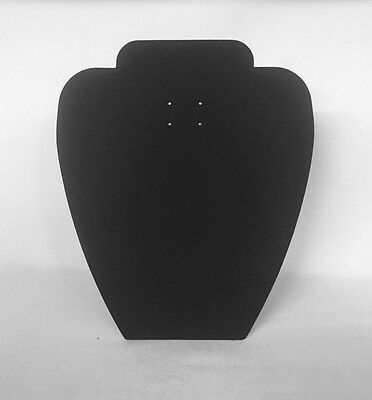Set of 10 Jewellery Display Necklace Card Busts [A] Black Suede *Made in the UK*