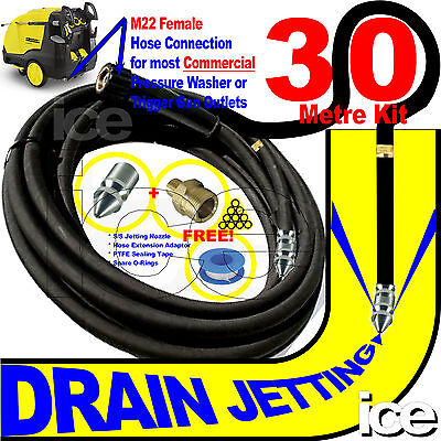 30m DRAIN SEWER GULLEY PIPE CLEANING FLUSHING JET WASH PRESSURE HOSE NOZZLE KIT