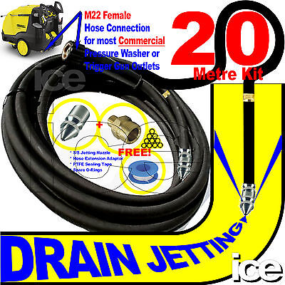 20m HD DRAIN SEWER GULLEY CLEANING FLUSHING JET WASH PRESSURE HOSE NOZZLE KIT