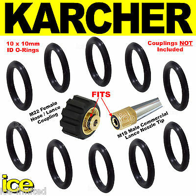 10 x KARCHER REPLACEMENT PRESSURE WASHER HOSE COUPLING LANCE NOZZLE O-RING SEALS