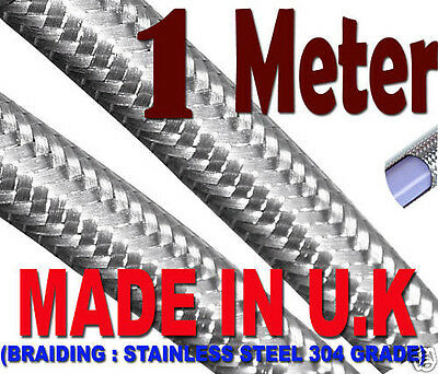 6MM STAINLESS AN-4 STEEL BRAIDED BRAKE PTFE FUEL PETROL HOSE 1 Meter Long