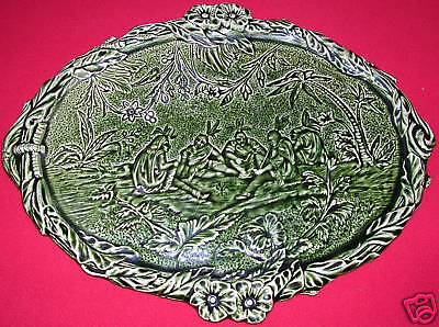 Rare Antique French Native Green Majolica Platter Tray