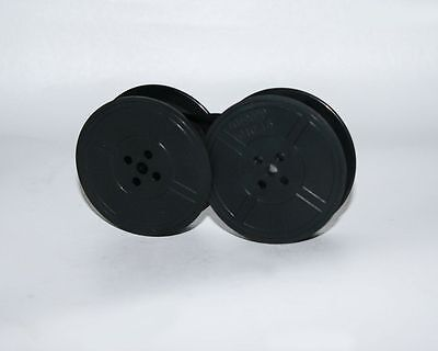 1 x SILVER REED SILVERETTE *BLACK* Typewriter Ribbon TWIN SPOOL *WITH EYELETS*
