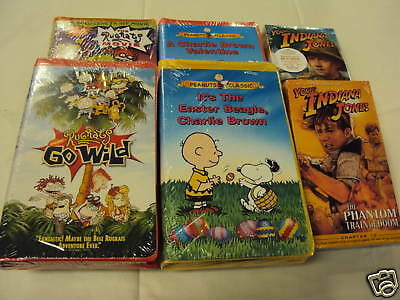 6 VHS RugRat/Charles Brown Peanut/ Young Indiana Jones