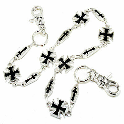 "DK Simple Cross Symbol Biker Trucker Key Jean Wallet Chain (26.5"") Silver CS12"