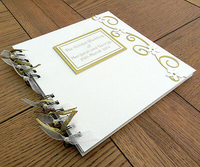 50th Anniversary Guest Book, Golden Wedding Photo Memory Scrapbook personalised
