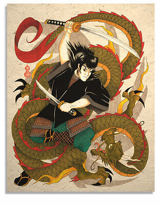 Asian Japanese Art Print Samurai vs Dragon
