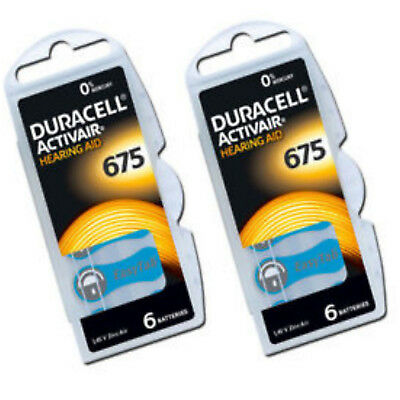 12 x Duracell 675 DA675 A675 BLUE Hearing Aid Batteries