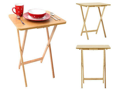 Wooden Folding Snack Table Tv Card Game Coffee Side Table Natural Wood Veneer