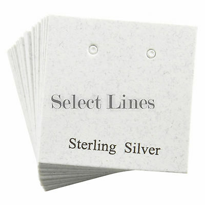 200 Sterling Silver White Earring Jewelry Cards 1 x 1""