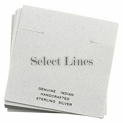 """200 Indian White Earring Jewelry Cards 2-3/8 x 2-3/8"""""""